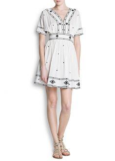 Mango Women's Cotton Embroidered Dress: Clothing