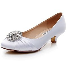 fea129fc04c LUXVEER Kitten Heel Satin Wedding Shoes Sexy Women Shoes with Rhinestone Low  Heel inch womens sandals strap sandals Comfortable silver wedding sandals  ...