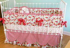 Custom Crib Bedding  Cherry on Top retro crib by LottieDaBaby, $450.00