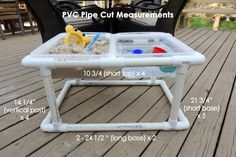 DIY Sand and Water Table with lids. PVC pipe frame. Roughly $50 to make.