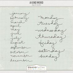 A Kind Word- Days and Months $3.00
