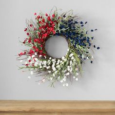 12 Best 4th of July Decorations 2020 | HGTV 4th Of July Decorations, Americana Decorations, Holly Springs, Summer Wreath, Spring Wreaths, Fourth Of July, Memorial Day, Blue Flowers, Red And White