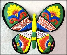 Butterfly Metal Wall Art - Hand Painted Metal Art Butterfly Wall Decor, Outdoor Garden Decor, Butterflies - Metal Wall Hanging - M-901-OR-24 by MetalArtofHaiti on Etsy