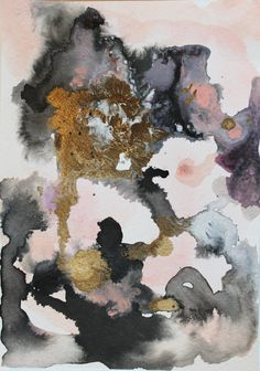 original painting peach gold and black abstract by JulesTillman