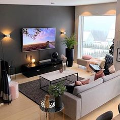 13 Best Modern Living Room Inspirations From a simple living room decor to elaborated lighting and p Simple Living Room Decor, Living Room Tv, Apartment Living, Interior Design Living Room, Small Living Room Ideas With Tv, Cozy Living, Studio Apartment, Lights For Living Room, Living Room Brown