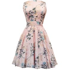 Pastel Pink Floral Tea Dress (495 VEF) ❤ liked on Polyvore featuring dresses, short dresses, vestidos, floral dress, short formal dresses, vintage pink dress and skater skirt
