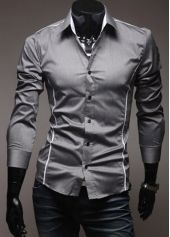 Button Fly Design Turndown Collar Shirts