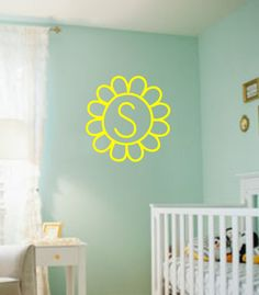 Initial Flower Vinyl Wall Decal by OZAVinylGraphics on Etsy