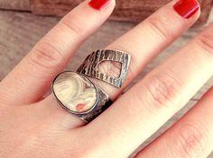 Agate ring open ring adjustable ring long ring by CarmelaRosa