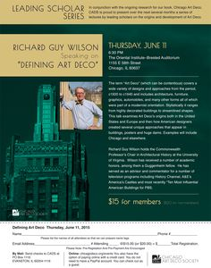 """Chicago Art Deco Society - Lecture: """"Defining Art Deco"""" with Richard Guy Wilson"""