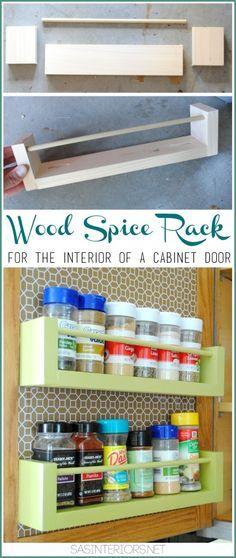 Spice Organizer – Easy DIY Wood Spice Rack | http://thesawdustdiaries.com/wood-spice-rack-tutorial/