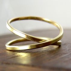 Yellow Gold Infinity Ring, 14K Yellow Gold, sizes 3 through 6, any size available, Sea Babe Jewelry. $243.00, via Etsy.
