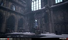 ArtStation - Uncharted 4 Scotland Cathedral, Jeremy Huxley Game Art, Scotland, Environment, 3d, Artwork, Design, Inspiration, Cathedrals, Mansions