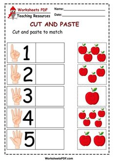 Today we share with you teacher friends. The next worksheet cut and paste, It is about counting how many apples are in the box then paste in the corresponding n Autism Learning, Preschool Learning Activities, Kids Learning, Teaching Resources, Preschool Writing, Numbers Preschool, Kindergarten Math Worksheets, Kindergarten Learning, Cutting Activities