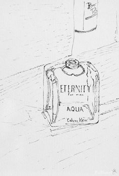 Ink drawing of a Calvin Klein Eternity perfume bottle. Drawing just the outlines of the highlights and shadows.  Part of my daily drawing challenge.