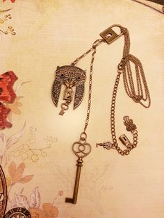 Brass Owl and Key long necklace...