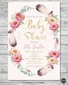 FLORAL BABY SHOWER PERSONALISED INVITATION INVITE CARD PINK GOLD GIRL BOHO CHIC  #CUSTOMINVITATION #BABYSHOWER