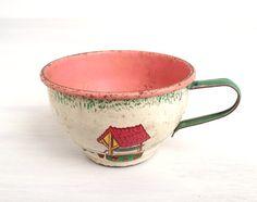 Teacup Ohio Art toy tea set Country Charm tin by modernpoetry, $8.00