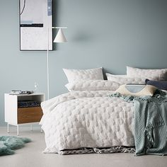 Cordon Quilted Jersey Quilt Cover Cloud