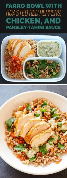 Farro Bowl with Roasted Red Peppers, Chicken, and Parsley-Tahini Sauce