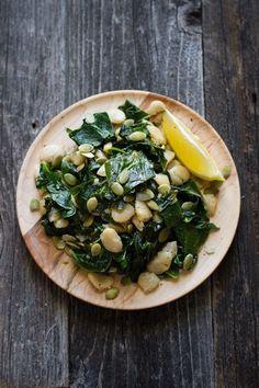 Garlic Lemon Collard Greens & Butter Beans #vegan