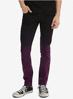 """These black skinny jeans from XXX RUDE fade to purple in the most fabulous ombre we've ever seen. We love how it can add a pop of color unexpectedly to any outfit. Don't worry, they have your favorite low rise and slim fit throughout the body and leg, with 5-pockets and button and zipper fly.    99% cotton; 1% spandex  Wash cold; dry low  13"""" leg opening  Imported  Listed in men's sizes"""