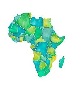 5x7 - Africa Print. $13.00, via Etsy. Africa countries map