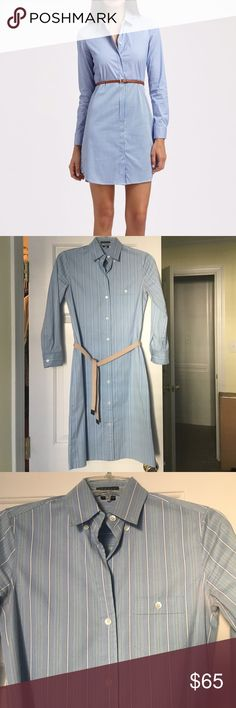 Theory Verone shirt dress Theory Verone belted shirtdress. One pocket, elastic belt with leather ends, about 39 1/2 inches from top of collar to hem. Very preppy and professional. First picture is not exact dress. Theory Dresses Midi