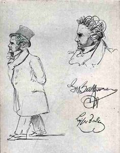 Caricatures of Ludwig Van Beethoven by Johann Theodor Lyser, Romantic Composers, Classical Music Composers, Piano Music, Art Music, Beethoven Music, Music Images, Music Like, Flavio, Music For Kids