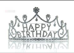"""Silver crystal Rhinestone happy birthday tiara crown comb for cake topper / perfect birthday crown for any adult or child / 2.5"""" x 7.75 wide on Etsy, $24.00"""