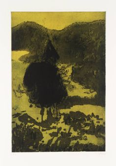 Peter Doig, Figure in a Mountain Landscape, 1997, Etching on paper, 30x20.3cm