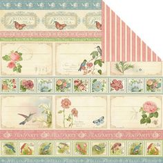 """Graphic 45 -Botanical Tea Collection - 12""""x12"""" Double Sided Paper - Hello Friend"""