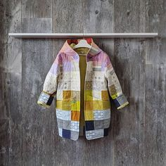 Quilted Coats, Quilted Clothes, Quilted Jacket, Sewing Clothes, Altered Clothes, Coat Of Many Colors, Blanket Coat, Textile Artists, Embroidery Art