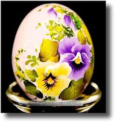 pansies painted on egg