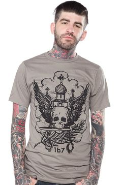 RUSSIAN PRISON WILLFUL DESTRUCTION T SHIRT Are you obsessed with Russian Tattoo history like we are?! Behind each illustration there is a rhyme and reason why inmates would tattoo these images on their bodies. Article 167 of the Criminal Code: Willful Destruction of Property is portrayed on this dark gray slim fit t-shirt. $25.00 #guys #tattoo #russian