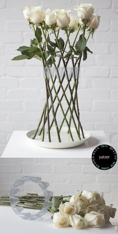 CROWN vasebyLambert Rainvillearranges rigid stem flowers in a free-standing and decorative structure.