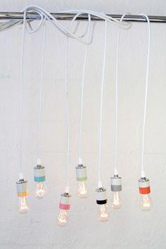 porcelain pendant lights by urban chandy. behind the scenes feel Luminaire Design, Lamp Design, Lighting Design, Rainbow Light, I Love Lamp, Modern Industrial, Decoration, Pendant Lighting, Pendant Lamp
