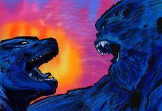 Combined the two drawings with some edits to the background  #kingghidorah #ghidorah #rodan #mothra #kingofthemonsters #mechagodzilla… Monstruos Gigantes, Entrenando A Tu Dragon, Imagenes Chidas, Imagenes Compartidas, Criatura, Dragones, Animales, Dibujos, King Kong Vs. Godzilla