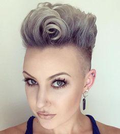 Silver Blonde Undercut Pompadour
