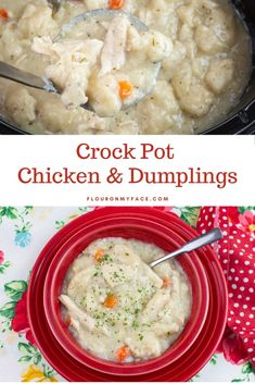 Easy Crock Pot Chicken and Dumplings Recipe made with canned biscuits that mades the richest and creamiest southern chicken and dumplings you have ever tasted.