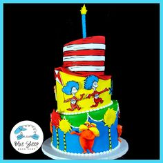 Dr. Seuss 1st Birthday Cake, must taste yummy in your tummy! Order your matching Dr.Seuss Invitations here! >> https://www.etsy.com/listing/530104387/dr-seuss-cat-in-the-hat-birthday?ref=shop_home_active_51