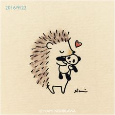 Hedgehogs love Pandas too! Hedgehog Art, Hedgehog Drawing, Cute Hedgehog, Hedgehog Tattoo, Cute Animal Drawings, Cute Drawings, Cute Doodles, Doodle Art, Cute Art