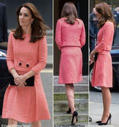 Kate In Retro-Inspired Skirt Suit by Eponine London for Teen Mentoring Engagement  ©Splash News