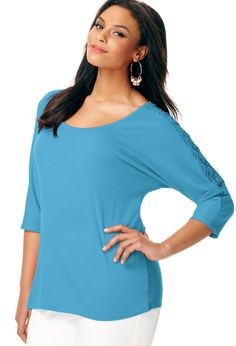 Crochet Shoulder Tunic Top | Avenue