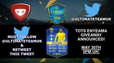 #FIFA 16 #TOTS #ENYEAMA GIVEAWAY (XB1 or PS4)! FOLLOW US & RETWEET THIS TWEET TO ENTER! SIMPLE AS THAT! #FUT https://twitter.com/UltimateTeamUK/status/736306552144072704