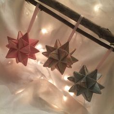 Origami star ornaments set of 3