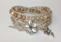 Autumn Jasper w/ Swarovski Crystal Double Wrap by DesignsByJen1,