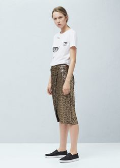 Sequin wrap skirt - Skirts for Woman | MANGO Lithuania