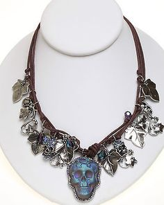 KIRKS FOLLY DREAM SKULL CORDED NECKLACE silvertone  - NEW DREAM STONE