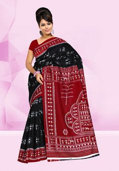 Fabdeal Maroon & Black Colored Rec Silk Printed Saree